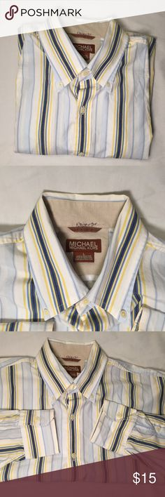 Srtiped Michael Kors Button Shirt Buttoned down long sleeve shirt by Michael Kors shirt in good condition.  Yellow/Navy Blue/Blue/White stripes.         All products* sold by super22saver55 are pre-washed using Tide Pods, Downy Unstoppables, and Oxygen Orange for your convenience.  *Not including NWT products, products made of wool or sports wear.  *Sports wear products are washed with detergent and vinegar or baking soda. KORS Michael Kors Shirts Dress Shirts