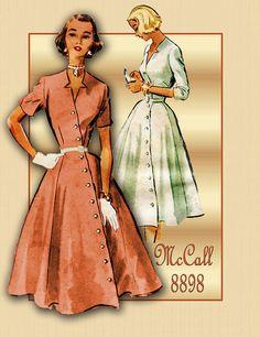 1950s Dress Pattern Vintage McCalls 8898 One Piece Dress with Unique Asymmetrical Front Button Closure Size 16