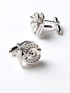 Fly fishing reel cufflinks, for the outdoors gentleman