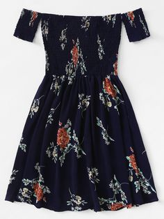 Shop Floral Print Shirred Dress at ROMWE, discover more fashion styles online. Cute Girl Outfits, Cute Casual Outfits, Outfits For Teens, Pretty Outfits, Pretty Dresses, Dress Outfits, Casual Dresses, Short Dresses, Summer Fashion Outfits