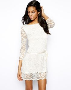 24d837e2a4b John Zack Lace Shift Dress With Tie Waist at asos.com