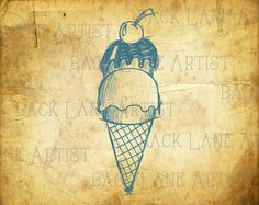 Ice Cream Waffle Cone Clipart Lineart by BackLaneArtist on Etsy