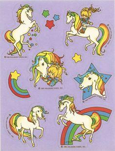 Hallmark Rainbow Brite & Starlite Horse Sticker Sheet Vintage 1983 Version B 1980s Childhood, Childhood Memories, Unicorn Stickers, Kawaii Stickers, Dibujos Cute, Rainbow Brite, Retro, Anime, Cartoon