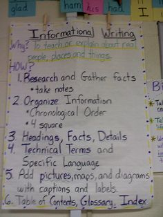 Anchor chart that explains the why and how of informational writing for students.