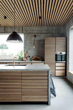 Contemporary Kitchen Interior, Modern Kitchen Interiors, Scandinavian Interior Design, Modern Kitchen Design, Interior Design Kitchen, Home Design, Home Decor Kitchen, Interior Decorating, Kitchen Lamps