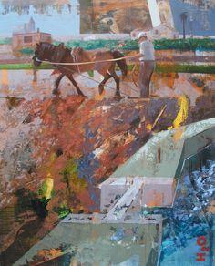 """Figurativo X - Trabajando la Tierra / Collage + Acrílico 100 X 81 cm. Seleccionado en: Concurso Nacional Pintura """"El Piló""""  Burjassot – Valencia 2013 / Concurso Pintura FUVAMA – Valencia 2014"""