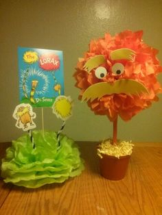 Lorax centerpieces... for a Dr. Seuss 1st birthday theme