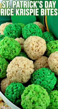St. Patrick's Day Rice Krispie Bites -  Yummy, bite-sized balls of crunchy, marshmallow-y delight.  This is a St Patrick's Day dessert that is easy to make and even yummier to eat.  These colorful and festive St Patrick's Day Treats are a proven favorite for Leprechauns and family members.  Pin this fun St. Paddy's Day snack for later and follow us for more fun St. Patrick's Day Food Ideas.