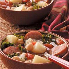 Sausage and Kale Soup: made this today w Coleman's mild Italian sausage (which is more of a smokey Italian chicken sausage). I used chicken broth and great northern beans too.  Really good, definitely will make again!
