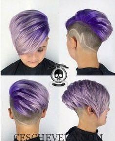 Coiffure Undercut court pour Purple Hair