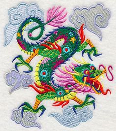 Colorful Asian Dragon design (L3180) from www.Emblibrary.com
