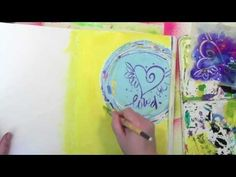 Using a round Gelli Plate with Silks and a Stencil - YouTube -- Enter to win a round Gelli Plate here http://acolorfuljourney.com/?p=8030 (contest ends 11/16/2013)