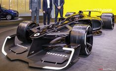 Renault has unveiled the futuristic R. 2027 Vision concept racing car at the Shanghai Auto Show. The design study embodies Renault's vision of Formula 1 in the year when the French carmaker says there will be a greater focus on the drivers and […] Bugatti, Lamborghini, Ferrari, Sport Cars, Race Cars, Racing Car Design, Futuristic Cars, F1 Racing, Kit Cars