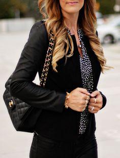 Chanel, Jumbo Caviar Purse, Joie Silk Blouse, Theory Black Blazer, Fall Style, Fall Fashion, Pink Lipstick, Fashion Blogger