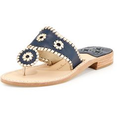 Jack Rogers Palm Beach Whipstitch Thong Sandal ($125) ❤ liked on Polyvore featuring shoes, sandals, navy leather sandals, flat pumps, thong sandals, jack rogers sandals and navy blue flats