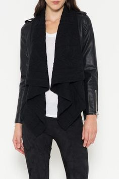 Great mixed media moto jacket in faux leather with cable knit drape collar detail. The jacket is accented with a waist belt and silver zipper.   Media Moto Jacket by Rose & Eye. Clothing - Jackets, Coats & Blazers Long Island, New York