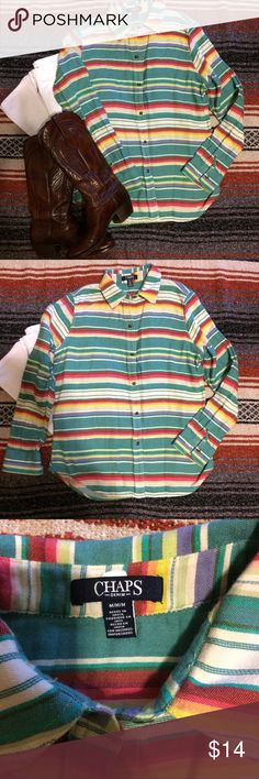 Chaps Colorful Striped Button Down - medium Western style button down long sleeve by Chaps. Size medium. Bright and colorful and perfect with your boots. Chaps Tops
