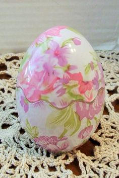 Trinket Box Ring Holder, Glass Cottage Chic Egg, Pink Floral Easter, Trinket Box, Dresser Ring Holder, Jewelry Organizer, Vintage Ring Box by BeautyMeetsTheEye on Etsy