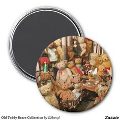 Old Teddy Bears Collection 3 Inch Round Magnet