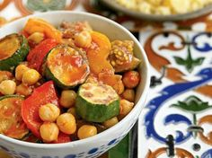 Chickpea Stew with Eggplants, Tomatoes, and Peppers