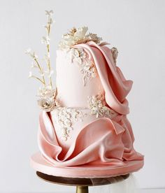 wedding cakes fondant Is it just us, or is this lenovelle_jakarta_bali cake nearly too pretty to eat . wedluxe and to get featured! Blush Wedding Cakes, Fondant Wedding Cakes, Elegant Wedding Cakes, Elegant Cakes, Wedding Cake Designs, Fondant Cakes, Floral Wedding, Wedding Gowns, Gorgeous Cakes