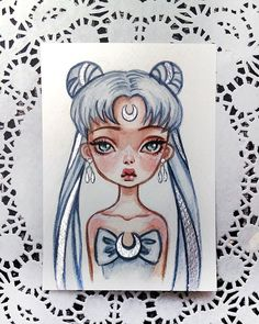 Queen Serenity Already available in my Etsy Link in profile Sold out. Thank you so much #sailormoon #serenity #anime #queen #postcard #etsy #watercolorart
