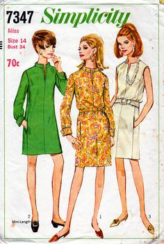 1960s Dress with Slit Neckline Pattern by BessieAndMaive on Etsy