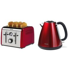 Breville Aurora 4 Slice Toaster, Red and Candy Stainless Steel Kettle, Shimmer...