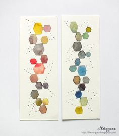 Abstract Geometric Hexagon Original Watercolor Painting Illustrated Rainbow Bookmarks - Dot Geometric Handpainted Bookmarks - Unique Gift