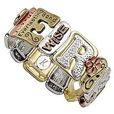 Gift Idea For Women`s  Sentiment Tile Bracelet   Contemporary, comfortable stretch bracelet is made from a variety of shimmering metallic bars. Each rectangular bar is beautifully detailed with cutouts, charms, rhinestones or meaningful phrases. It's available in 4 distinctive designs that are sure to hold meaning for her: Mother, Family, Faith and Love.