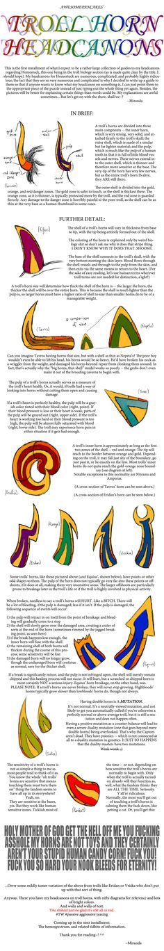 Troll Horn Headcanons by AWESOMEPANCAKES on DeviantArt<<< This makes a lot of sense, too!