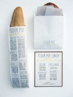 Flour Pot - cool branding and packaging for bakery goods. Bakery Packaging, Pretty Packaging, Brand Packaging, Packaging Design, Branding Design, Simple Packaging, Clever Packaging, Coffee Packaging, Bottle Packaging