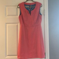 Beautiful coral dress Donna Rico beautiful coral colored sleeveless dress, size 10.  Tailored very nicely for a great fit!  Pockets, pretty turquoise silky paisley liner on top. Dress is 100% cotton.  So pretty! Donna Ricco Dresses