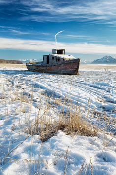 On Hold for the Winter ~ Old fishing boat on Cook Inlet, Alaska Abandoned Ships, Abandoned Places, Alaska Fishing, Fishing Tips, Alaska The Last Frontier, North To Alaska, Old Boats, Salmon Fishing, Fishing Boats