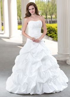 [CA$ 285.04] Ball-Gown Sweetheart Chapel Train Taffeta Wedding Dress With Ruffle Beading Appliques Lace