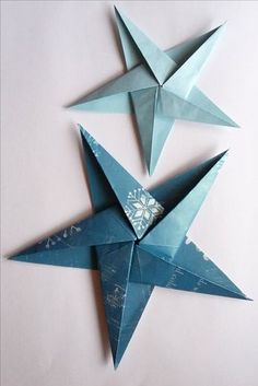 Learn to make a folded paper Christmas tree and an origami star -- simple, quick. Learn to make a folded paper Christmas tree and an origami star — simple, quick and effective dec Paper Christmas Decorations, Paper Christmas Ornaments, Christmas Origami, Christmas Diy, Christmas Presents, Christmas Stars, Snowflake Ornaments, Origami Ornaments, Decorating For Christmas