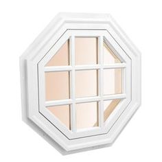 Awsco Octagon Replacement White Exterior Window (Rough Opening: X Actual: X Octagon Window, Gable Window, Deck Makeover, Brick Molding, Lowes Home Improvements, Window Design, House Front, Exterior Colors, Colorful Interiors