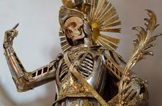 St Pancratius skeleton in armor. Church of St Nikolaus, Switzerland. Christine Wu, Christian Soldiers, The Wicked The Divine, Saint Jean Baptiste, The Catacombs, Macabre Art, Danse Macabre, Early Christian, Vanitas