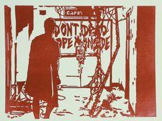 Lino cut/letterpress print slipcase for Walking Dead cassette set, released by Altar of Waste