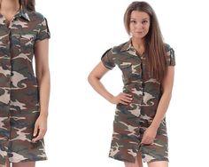 Military Dress 90s CAMOUFLAGE Drab Green Army Style Tee Dress Button Up Mini Dress Short Sleeve Khaki Plain 1990s T Dress Small Military Dresses, Army Style, Button Dress, Military Fashion, Vintage Tops, Camouflage, Ready To Wear, Short Sleeve Dresses, Mini