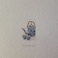 Day 283: Tea set - tiny watercolour | 365 Paintings For Ants / Lorraine Loots