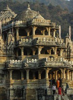 Ranakpur Jain Temples, Rajasthan - jain temple at ranakpur, rajasthan, india - Indian Temple Architecture, India Architecture, Religious Architecture, Ancient Architecture, Amazing Architecture, Ancient Buildings, Temple India, Jain Temple, Ganesh Temple