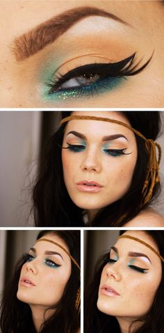 linda hallberg - pop of blue- i am obsessed with her face and makeup!