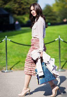 Burberry fringe skirt #StreetStyle