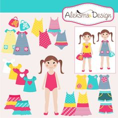 Dress me! Summer girl set- you can dress girl what ever you want! Perfect for kisd, scrapbooking, party, invitation...  Set contains 22 elements all in high resolution JPEG and PNG (transparent) and EPS version 8