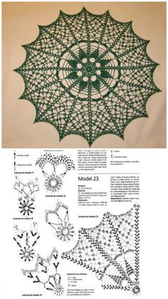 Crochet Doily Diagram, Crochet Mandala Pattern, Crochet Lace Edging, Crochet Circles, Thread Crochet, Filet Crochet, Crochet Flowers, Knitting Patterns, Crochet Patterns