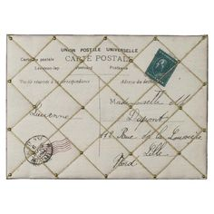 Perfect for your kitchen or bedroom, this padded memo board features a carte postale motif. Use to display invitations and postcards, write notes to the fami...