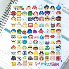 Tsum Tsum stickers! set of 100 stickers for your Erin Condren, Happy Planner, Inkwell Press or other calendar or planner!