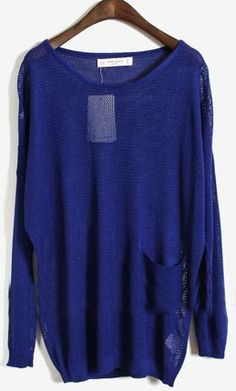 Blue Long Sleeve Batwing Hollow Pocket Pullovers Sweater