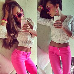 Spring Outfit - White Crop Lace Hoodie - Pink Jeans